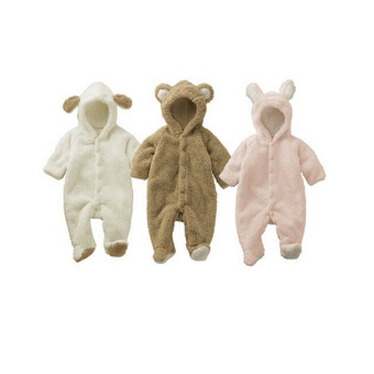 Unisex One-Piece Warm Thick Siamese Romper Jacket Coat for Baby Boy Girl Kids Toddler Animal Style Autumn & Winter Brown