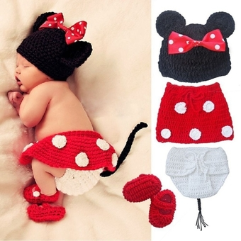 Moonar Cartoon Adorable Mouse Design Newborn Children Photography Clothing Suits for 0-6 Month (Red)