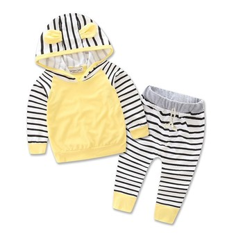 Newborn baby Zebra striped leisure suit kids infant baby girls clothes hooded t-shirt top + pants 2pcs set girls outfit dress