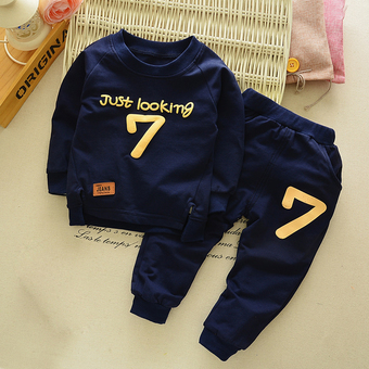 Baby boy Sportswear Tops and Pants Clothing Sets Dark Blue