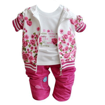 Baby Peony Coat / Long Sleeve T-shirt / Pants Clothes Set (Rose Red)