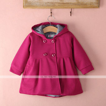 New Baby Toddler Girls Fall Winter Horn Button Hooded Pea Coat Outerwear
