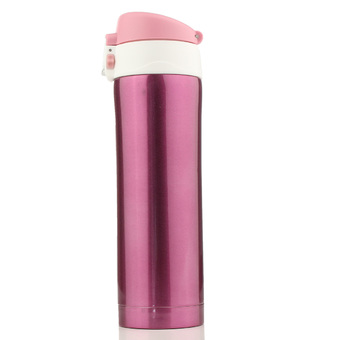 Autoleader 500mL Travel Mug Tea Coffee Water Vacuum Cup Bottle Stainless Steel Thermos Cup Pink (Intl)