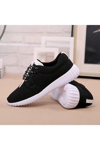 New Women's Running Shoes Casual Sports Shoes Breathable Mesh Sneakers Light Black Color