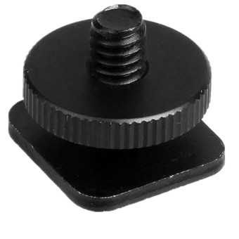 1/4 inch Tripod Screw to Flash HotShoe Mount Aluminum Adapter Light Stand (Black)