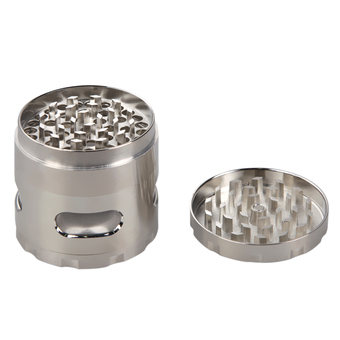 VAKIND 55mm Zinc Alloy Hand Crank Herb Mill Crusher Tobacco Silvery