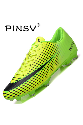 PINSV Men's Outdoor Football Shoes Boots Spike Soccer Shoes (Green)