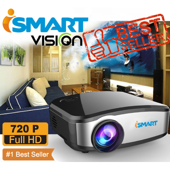 I-Smart mini LED projecteur 800x480 pixels 1200 lumens Home Cinéma HDMI / USB / VGA / AV รุ๋นC6 (black)
