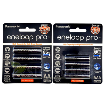 Eneloop Pro Rechargeable Battery AA x 4pcs. AAA x 4pcs. - Black รุ่น BK-3HCCE/4BT + BK-4HCCE/4BT