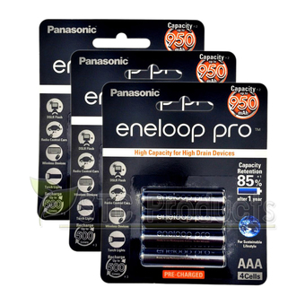 Eneloop Pro 950 mAh Rechargeable Battery AAA x 12pcs. - Black รุ่น BK-4HCCE/4BT x 3Pack (4 ก้อน/Pack)