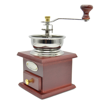 Manual Coffee Grinder Mill Hand Crank Adjustable Wood Iron Antique (Intl)