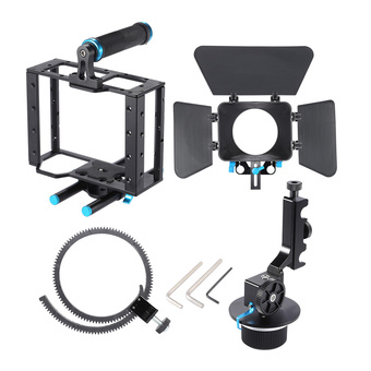 Aluminum Alloy DSLR Video Film Movie Making Kit with Camera Cage Top Handle Grip 15mm Rod Set Matte Box Follow Focus for DSLR Cameras Camcorders Outdoorfree (Intl) - Intl