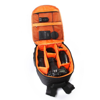 Camera Backpack Bag Waterproof DSLR Case for Canon/Nikon/Sony (Orange)