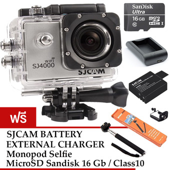 SJCAM SJ4000 Wi-Fi 12MP Model 2016 เมนูไทย จอ 2.0 นิ้ว (Silver) (+ Battery+Charger+Monopod+Sandisk Micro SD Class10 16GB)