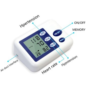 niceEshop Home Digital Arm Blood Pressure Monitor With Heart Rate Monitor And Cuff(White)