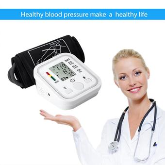Leegoal Automatic Digital LCD Arm Blood Pressure Monitor LCD Heart Beat Home Sphgmomanometer(White)