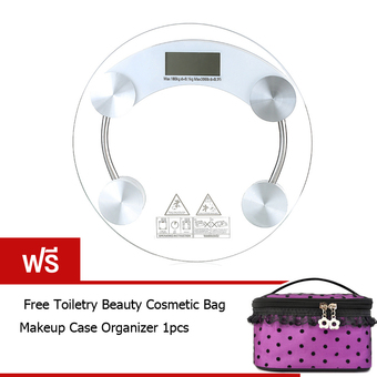 Best Tmall Electronic weight scale เครื่องชั่งน้ำหนักดิจิตอล กระจกใส รุ่น (White) Free Toiletry Beauty Cosmetic Bag Makeup Case Organizer (สีม่วง)