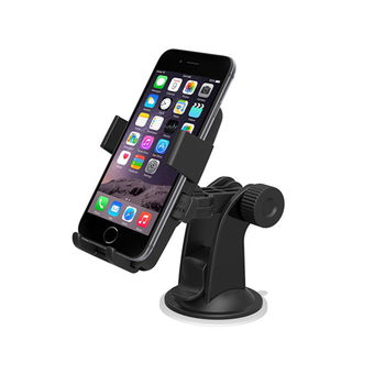 Easy One Touch Car Mount Cellphone Holder Dashboard Windshield for iPhone 6 Plus 5.5/Galaxy S6 Edge Plus S5 S4, Note 5 4 3/LG G4 (Black)