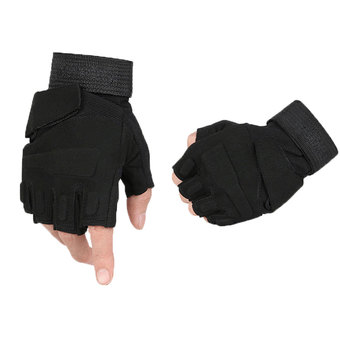 niceEshop Half-finger Airsoft Hunting Riding Gloves(Black,XL)