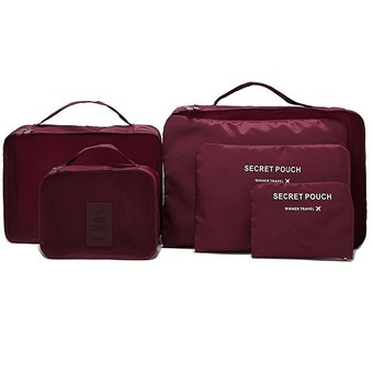 TravelGear24 กระเป๋าจัดระเบียบเสื้อผ้าสำหรับเดินทาง 6 sets travel Organizers Packing Cubes Luggage Organizers Compression Pouches - Wine Red (เซ็ท 6 ชิ้น)