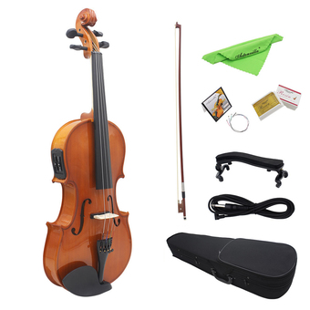 "4/4 Full Size Natural Acoustic EQ Violin Fiddle Solid Wood Spruce Face Board with 6.35mm 1/4"" Connector Wire Shoulder Rest Bow Rosin String Clean Cloth Hard Case Outdoorfree (Intl)"""