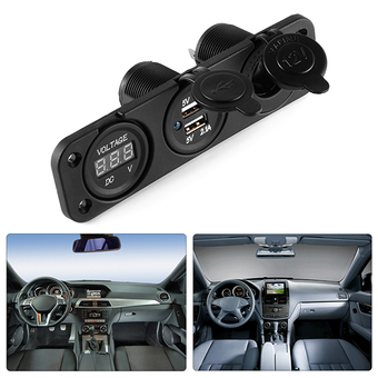 3in1 Car Auto Dual USB Charger Adapter+Voltmeter+Cigarette Lighter Socket MA997 - intl ร้านค้าดี ราคาถูกสุด - RanCaDee.com