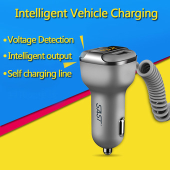 2016 New 12V-24V 3.4A Fast Charging Car Charger Dual USB Smart Car-Charger Adapter With Voltage/Current Digital LED Display