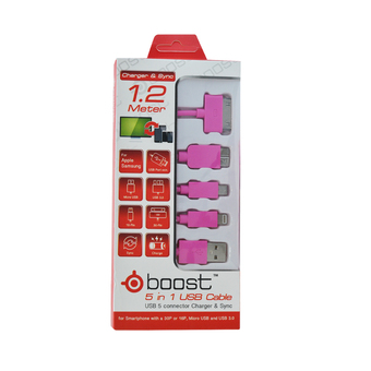 Tesco DATA LINK CABLE 5 IN 1 BOOST 1.2M MIX (MAGENTA)