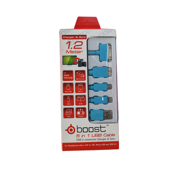 Tesco DATA LINK CABLE 5 IN 1 BOOST 1.2M MIX (BLUE)