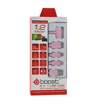 Tesco DATA LINK CABLE 5 IN 1 BOOST 1.2M MIX (PINK)