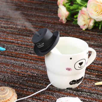 USB Mini Humidifier Cowboy Cap Office Household Air Purification Humidifier Aromatherapy Mist Maker (Black)