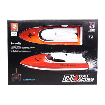 ZT 49MHz Realistic Yacht Toy RC High Performance Racing Boat High-Speed Surfing เรือ แข่ง บังคับวิทยุ (สีส้ม)