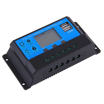 Allwin Hot 20A 12/24V Auto Switch Solar Charge Controller LED Display 2 USB Ports Blue & Black