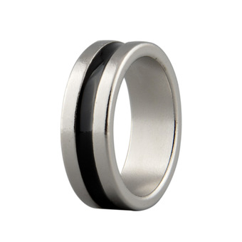 New Strong Magnetic Magic Ring Silver+Black Coin Magician Props Tool Size L