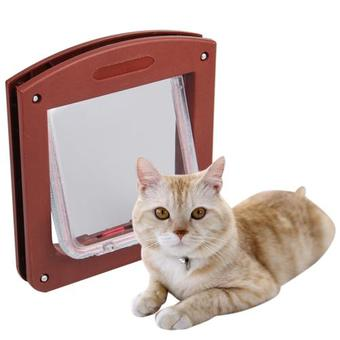 WiseBuy Coffee Brown 4 Way Locking Pet Cat Kitty Small Dog Flap Door ร้านค้าดี ราคาถูกสุด - RanCaDee.com