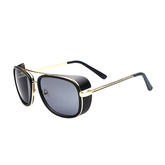 Mirrored Aviator SteamPunk Sunglasses Hipster Retro New Driving Fishing Glasses Matte Black