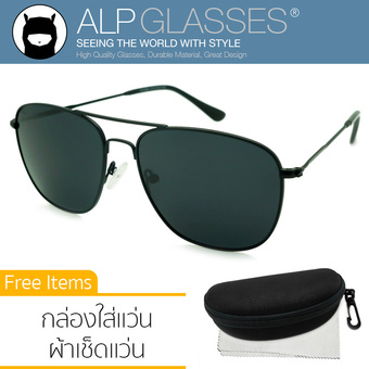 ALP Polarized Sunglasses แว่นกันแดด Aviator Style รุ่น ALP-0040-BKT-BKP (Black/Black)