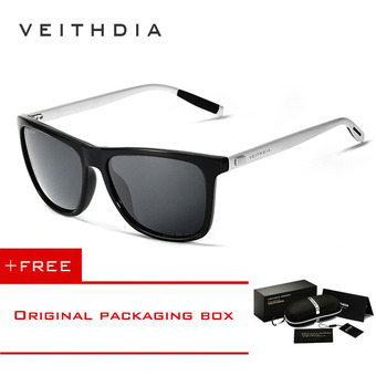 VEITHDIA Brand Unisex Retro Aluminum+TR90 Sunglasses Polarized Lens Vintage Eyewear Accessories Sun Glasses For Men/Women 6108(gray) [ Buy 1 Get 1 Freebie ]