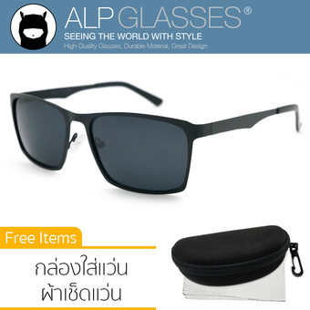 ALP Polarized Sunglasses แว่นกันแดด Square Style รุ่น ALP-0042-BKT-BKP (Black/Black)