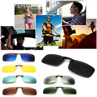 Driving Polarized UV 400 Lens Clip-on Flip-up Sunglasses Glasses Black+Grey