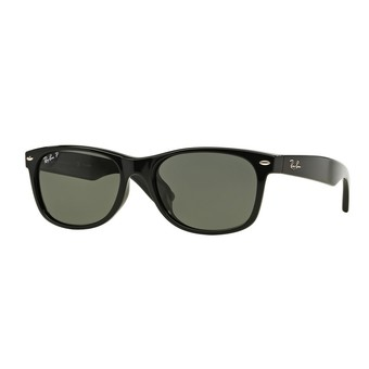 Ray-Ban แว่นกันแดด รุ่น New Wayfarer (F) RB2132F - Black (901/58) Size 58 Crystal Green Polarized