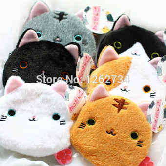 "6 Styles Big Face Cat / Balls Cat 4.5"" Plush Coin Bag Purse Free Shipping"""