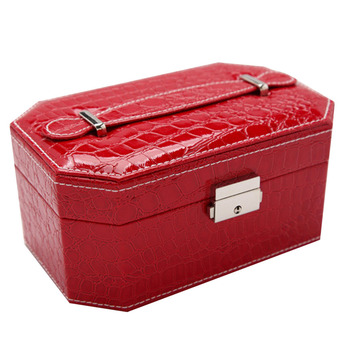 PU Leather Double Layers Jewelry Storage Box Case Organizer Mirror Red