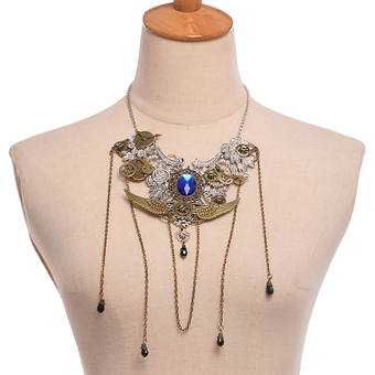 Medieval Punk Style Necklace Gears Wings Tassles Necklace