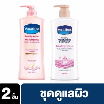 Vaseline Healthy White UV Lightening Lotion Pink 400 ml + Vaseline Healthy White Body Wash Pump Pink 450 ml