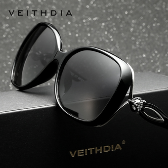 VEITHDIA Brand Retro TR90 Vintage Driving Sun glasses Polarized Luxury Ladies Designer Women Sunglasses Eyewear oculos de sol feminino 7022(Black)