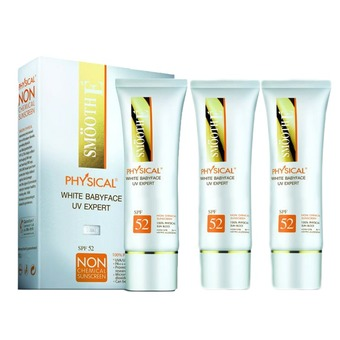 SMOOTH E Physical White Babyface UV Expert (white) 15 กรัม (3หลอด)