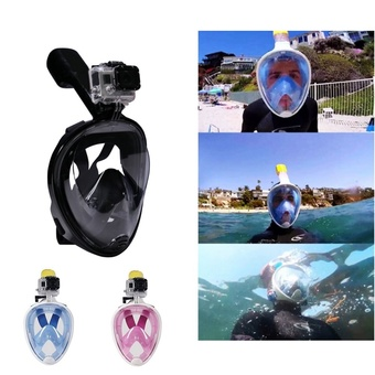 Underwater Diving Full Dry Snorkeling Mask Set Swimming Training Scuba Anti Fog for Gopro Camera (Size:L Color:Black)