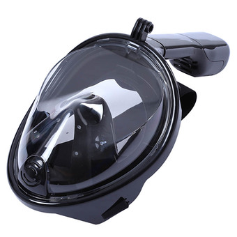 Full Dry Snorkeling Mask Set Underwater Diving Swimming Training Size L for Gopro Camera (Black)