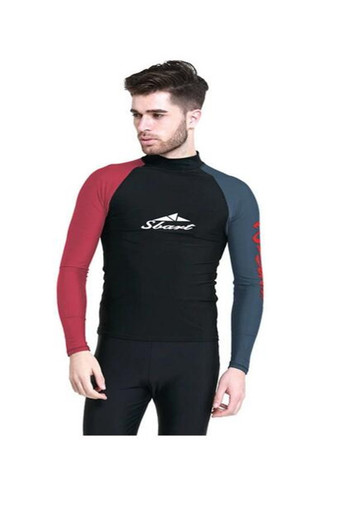 SBART Men Diving Suit Tops UPF50+ Rashguard Long Sleeves Swimming Swimwear Clothing Surfing Snorkeling Windsurf Sports Wetsuit-(Black&Red)